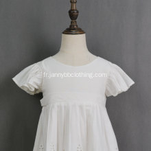 robe blanche fille manches longues oeillet dentelle fleurie