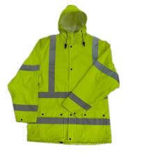 PU Coated Hooded Yellow Reflective PU Raincoat/Safety Clothing