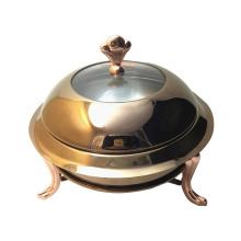 Calentador de la comida del restaurante del acero inoxidable del oro inoxidable del plato de frotamiento del hotel