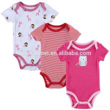 Encantador dos desenhos animados 2 anos de idade crianças 3 pacote de roupa do bebê macacão terno impresso do bebê romper