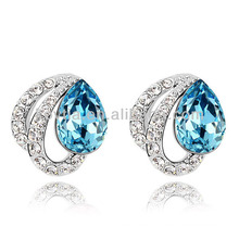 Sliver boucles d'oreilles femme bijoux en or blanc bijoux bleus boucles d'oreille en pierre cz diamants boucles d'oreilles résultats