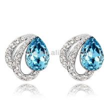 Sliver earrings woman white gold jewelry blue gems stone earring cz diamonds earring findings