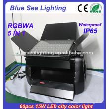 DMX 60pcs 15w rgbwa 5 в 1 IP65 водонепроницаемый dmx rgb светодиодный настенный светильник