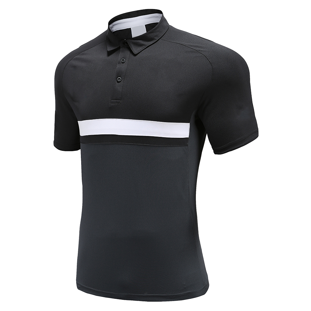 Black Soccer Wear Polo Shirt