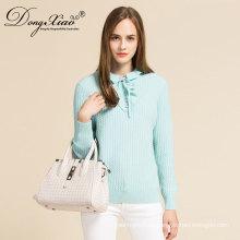 Nuevo diseño chica Bule color pétalo cuello suéter de lana de cachemira suéter con buen precio