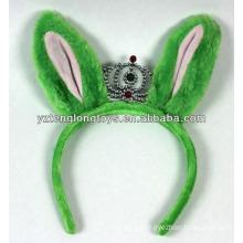 Popular com crianças orelhas de coelho verde em forma de pelúcia coroa banda de cabelo para Hallowen