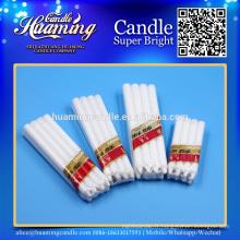 Bougies blanches, bougies de cire de paraffine, emballages rétractables