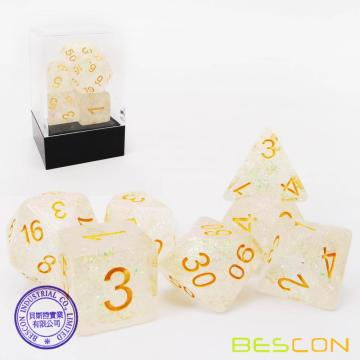 Bescon Shimmery Dice Set Rose-Golden, RPG Set de 7 dados en caja de ladrillo