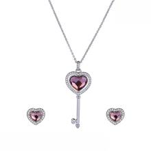 set-46 xuping elegante coração conjunto luxuoso swarovski elements elegante coração conjunto de jóias