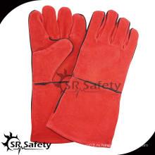 SRSAFETY более длинная красная безопасная сварка Кожаные перчатки