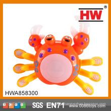 Funny plástico operado bateria brinquedo caranguejo com luz