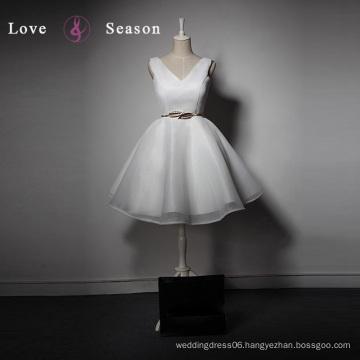 LSQ026 Cheap V neckline organza knee length ladies tops vestidos de fiesta barbie dress up games for girls
