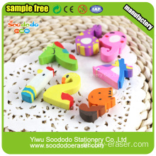 Número de la forma animal Extruded Eraser promotion stationery
