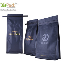 Bahagian bawah Biodegradable Square Stand Up Coffee Pouch dengan Tin Tin dan Wrappers Manufacturer China