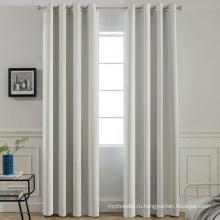 Кремовые плотные шторы для гостиной