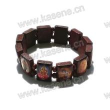 Fashion Handmade Wooden Catholic Rosary Bracelet on Elastic