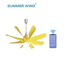 Luz amarilla moderna del ventilador de techo con control remoto