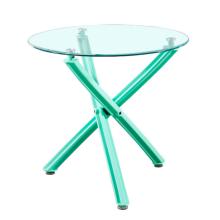 Mesa de comedor redonda redonda de las piernas cruzadas coloridas superiores de cristal de la moda al por mayor