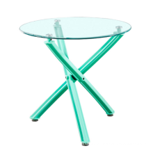 Wholesale Cheap Fashion Glass Top Colorful Cross legs Round Dining Table