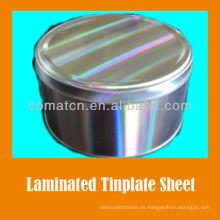 Película del animal doméstico laminado acabado brillante de la estañado del EN10202 estándar hojalata primer señor 2.8/2.8 T4CA para producción de alimentos