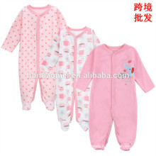 High quality wholesale price pink color infant toddler oneise witner long sleeve 100% cotton baby girls floral baby romper