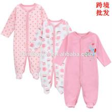 Высокое качество оптовая продажа цена розовый цвет младенческой малыша oneise мужчин с длинным рукавом 100% хлопок новорожденных девочек цветочные romper младенца