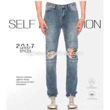 Casual fashion garments jeans pent denim fabric blue washed jeans
