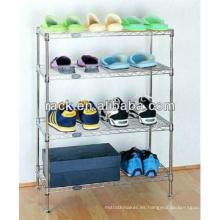 Flat 4 Tiers ajustables Metal Shoe Rack (LD603590B4C)