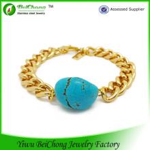 Красивый драгоценный камень бирюза и Золотая цепочка браслет