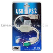 New PS2 Keyboard and Mouse Cable to Usb Converter Cable Adapter for Laptops & Desktops
