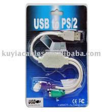 Новая клавиатура PS2 и кабель мыши для адаптера USB-адаптера для ноутбуков и настольных компьютеров