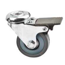 50mm Bolt Hole Gray Rubber Caster with Brake