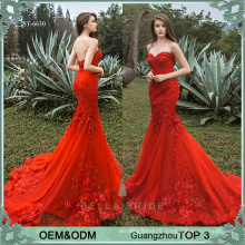 Latest ladies party wear gown red evening dress beaded party frock designs sexy prom dress 2017