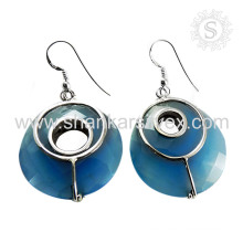 New stylish chelcidony silver designer earring jewelry 925 sterling gemstone wholesale handmade jewellery