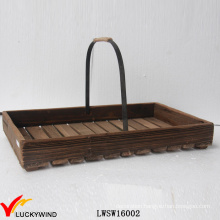 Reclaimed Fir Garden Decorative Easter Wood Basket with Handle