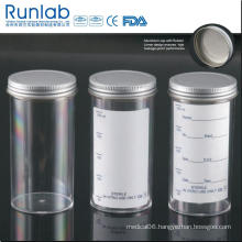 FDA and Ce Approved 250ml Sample Containers with Metal Cap