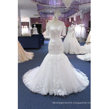 Mermaid Short Sleeve Plus Size Wedding Dress