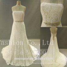 Sweetheart rückenlose Spitze Meerjungfrau schwere Perle Gürtel Hochzeitskleid 2017