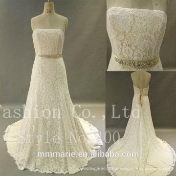 Sweetheart vestido de noiva com renda pesada com renda de renda sem costura 2017