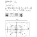 27'' Ceiling Mount Shower Head With LED /Rain+Mist+Bubble Function
