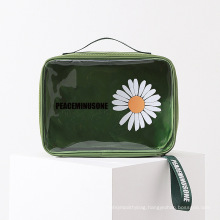 Wholesale Cute Fashion Daisy Green Makeup PVC Bag Cosmetics Bags & Cases with Zipper