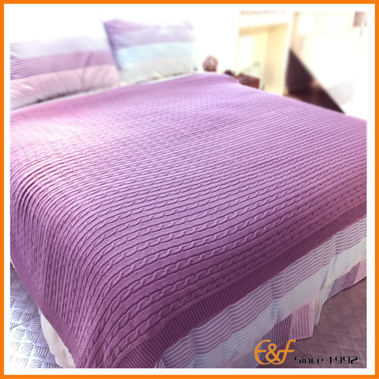 Purple knit blanket, the size cover the bed