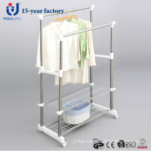 Stainless Steel Double Pole Clothes Hanger with Extra Mesh