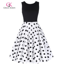 Grace Karin Retro Vintage Sleeveless Crew Neck Patchwork Flare A-Line Polka Dots Dress CL010463-2