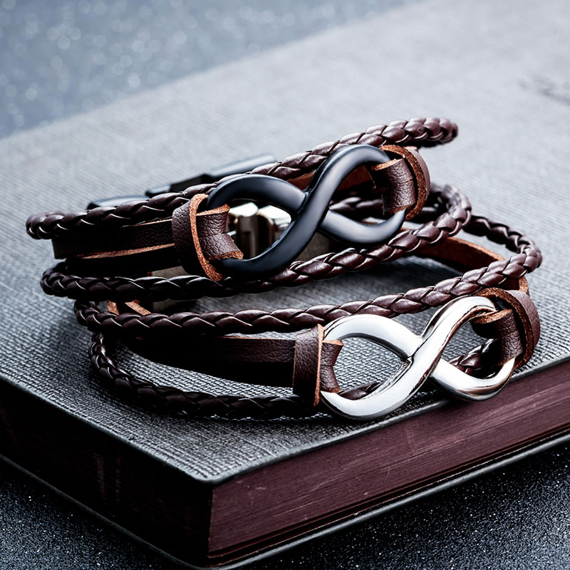 mens leather infinity bracelet
