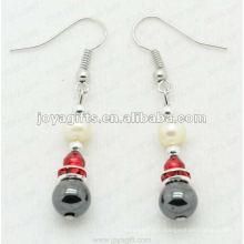 Boucles d'oreilles à perles rondes à l'hématite magnétique