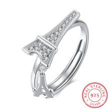 925 Sterling Silver Eiffer Tower Shape Ringent Zircon Ring