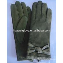 Les femmes de l'armée verte font des gants en cuir de suède en cuir de suède fabriqués en Chine