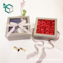 Popular Metal color printing ribbon satin clothes double open rose flower box for gift