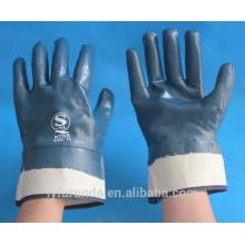 Interlock de algodão tecido ou jersery revestido totalmente revestido nitrilo com manguito de segurança